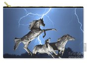 Lightning At Horse World Bw Color Print Carry-all Pouch