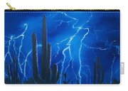 Lightning  Over The Sonoran Carry-all Pouch by Sharon Duguay