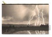 Lightning Striking Longs Peak Foothills Sepia 4 Carry-all Pouch