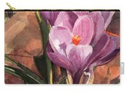 Lilac Crocuses Carry-all Pouch by Greta Corens