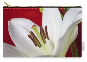 Lily Against Red Wall Carry-all Pouch by Garry Gay