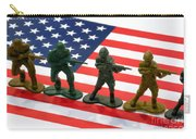 Line Of Toy Soldiers On American Flag Crisp Depth Of Field Carry-all Pouch