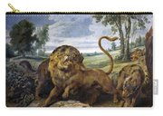 Lion And Three Wolves Carry-all Pouch