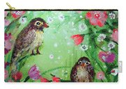 Little Birdies In Green Carry-all Pouch