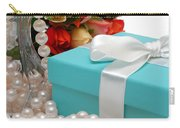 Little Blue Gift Box With Pearls And Flowers Carry-all Pouch