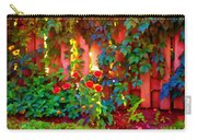 Little Country Scene Pink Flowers Climbing Leaves On Wood Fence Colors Of Quebec Art Carole Spandau Carry-all Pouch