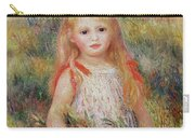 Little Girl Carrying Flowers Carry-all Pouch by Pierre Auguste Renoir