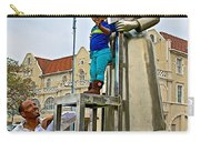 Little Girl Gets Close To Woman Sculpture In Donkin Reserve In Port Elizabeth-south Africa Carry-all Pouch