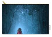 Little Girl In Red Dress Running In A Misty Forest Carry-all Pouch