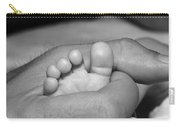 Tiny Infant Toes In Father's Big Hand Carry-all Pouch
