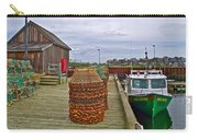 Lobster Fishing Baskets And Boats By A Dock In Forillon Np-qc Carry-all Pouch