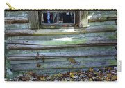 Log Cabin Window And Fall Leaves Carry-all Pouch