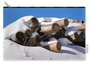 Log Pile In A Snow Drift In Winter Carry-all Pouch