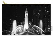 Logan Square Fountain At Night In Black And White Carry-all Pouch