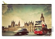 London The Uk Red Bus Taxi Cab In Motion And Big Ben Carry-all Pouch
