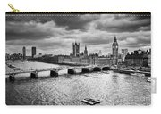 London Uk Big Ben The Palace Of Westminster In Black And White Carry-all Pouch
