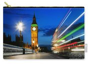 London Uk Red Bus In Motion And Big Ben At Night Carry-all Pouch