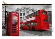 London Uk Red Phone Booth And Red Bus In Motion Carry-all Pouch