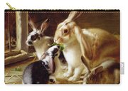Long-eared Rabbits In A Cage Watched By A Cat Carry-all Pouch by Horatio Henry Couldery