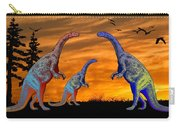 Long Necked Long Tailed Family Of Dinosaurs At Sunset Carry-all Pouch