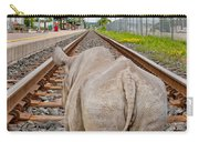 Rhino On A Railway Track Carry-all Pouch