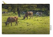 Longhorn Steer Herd In A Pasture Carry-all Pouch