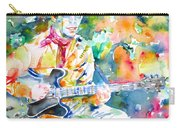 Lou Reed Playing The Guitar - Watercolor Portrait Carry-all Pouch