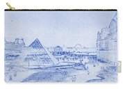 Louvre And Paris Skyline Blueprint Carry-all Pouch
