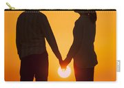 Lovers Holding Hands At Sunset In Silhouette Carry-all Pouch