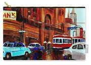 Lovers In The Rain Stroll St Catherine Street Near Morgans Department Store Vintage City Scene Art Carry-all Pouch