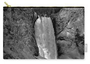 Lower Falls In Yellowstone In Black And White Carry-all Pouch