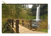 Lower South Waterfall With Footbridge In Oregon Columbia River Gorge. Carry-all Pouch