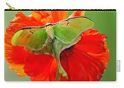 Luna Moth On Poppy Square Format Carry-all Pouch