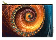 Luxe Fractal Spiral Brown And Blue Carry-all Pouch