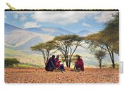 Maasai Men Sitting. Savannah Landscape In Tanzania Carry-all Pouch
