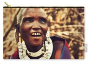Maasai Old Woman Portrait In Tanzania Carry-all Pouch