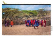 Maasai People And Their Village In Tanzania Carry-all Pouch