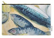 Mackerel With Oysters And Lemons, 1993 Oil On Paper Carry-all Pouch