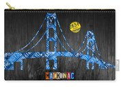 Mackinac Bridge Michigan License Plate Art Carry-all Pouch by Design Turnpike