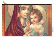 Madonna And Sitting Baby Jesus Carry-all Pouch by Zorina Baldescu