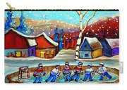 Magical Pond Hockey Memories Hockey Art Snow Falling Winter Fun Country Hockey Scenes  Spandau Art Carry-all Pouch
