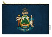 Maine State Flag Art On Worn Canvas Carry-all Pouch