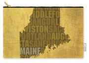 Maine Word Art State Map On Canvas Carry-all Pouch