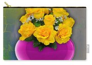 Majenta Heart Vase With Yellow Roses Carry-all Pouch