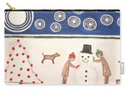 Making A Snowman At Christmas Carry-all Pouch by Patrick J Murphy