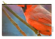 Male Cardinal  - Colorful Perch - Digital Paint Carry-all Pouch
