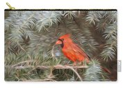 Male Cardinal In Spruce Tree Carry-all Pouch