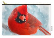 Male Cardinal On Snow Day - Dgital Paint Carry-all Pouch