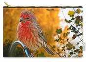 Male Finch In Autumn Leaves Carry-all Pouch