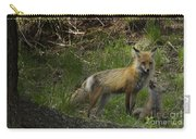 Male Fox And Pup   #3554 Carry-all Pouch